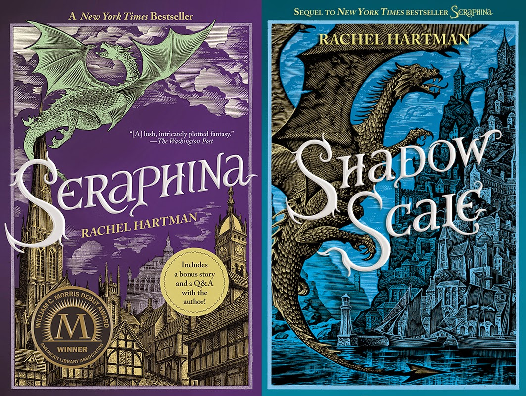 Seraphina and Shadow scale covers from https://splteenmachine.com/2015/10/16/seraphina-and-shadow-scale-by-rachel-hartman/